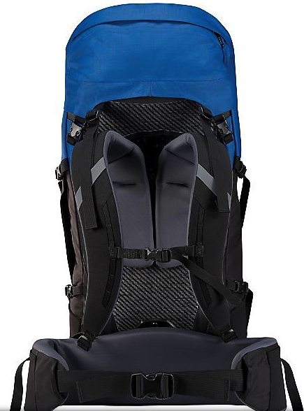 arcteryx bora 50 backpack - back