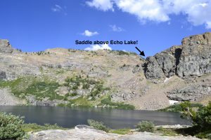 hiking the ruby mountains - Echo Lake with Saddle on Right