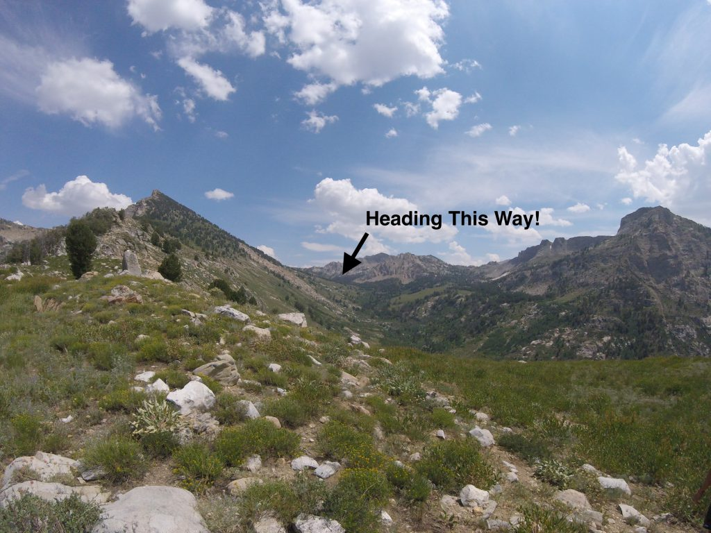 hiking the ruby mountains - view from pass up Kleckner Canyon