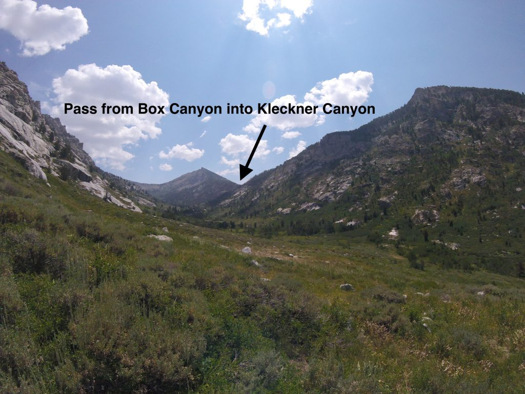hiking the ruby mountains - view of pass btn box and kleckner