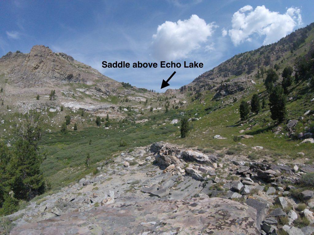 hiking the ruby mountains - saddle above echo lake from drainage