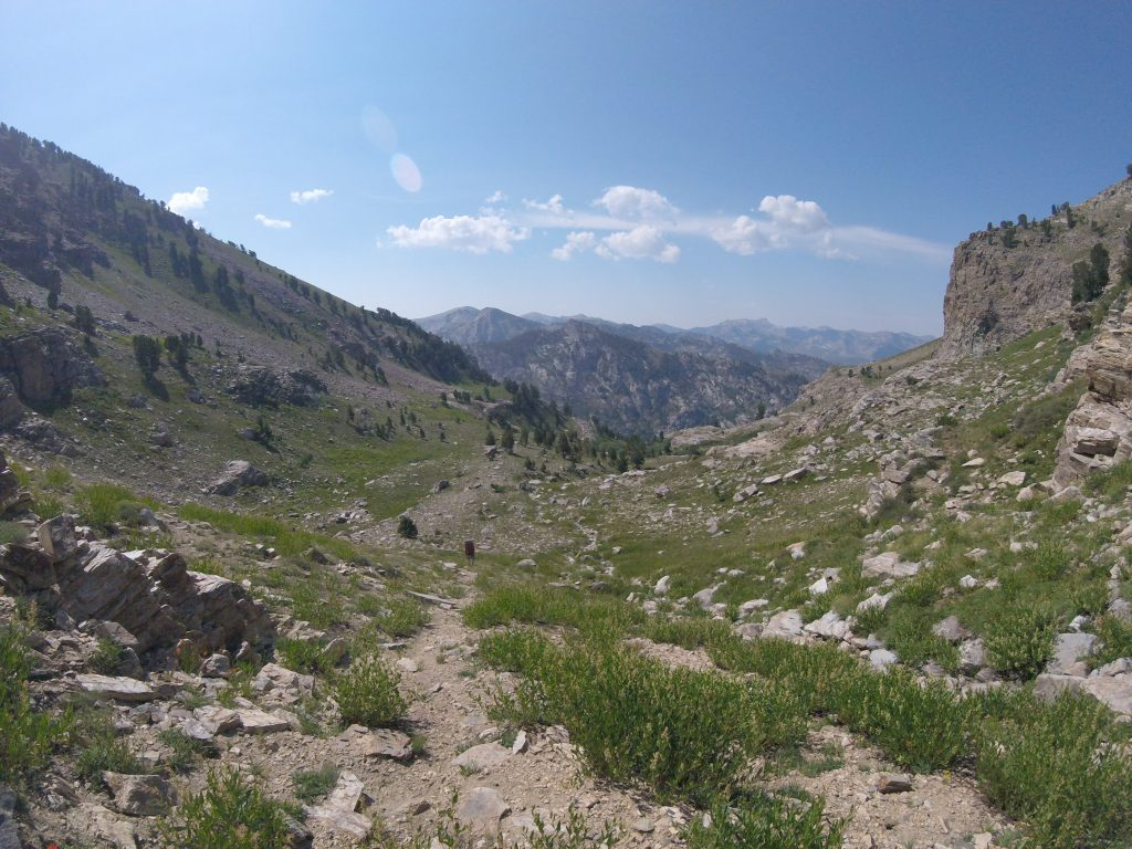 hiking the ruby mountains - view down the drainage to the southeast of Echo Lake