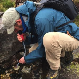 msr trail shot water filter - in use