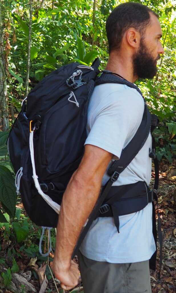 how to put on your backpack properly - after tightening shoulder straps