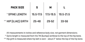 my trail company backpack light 70 - sizing chart