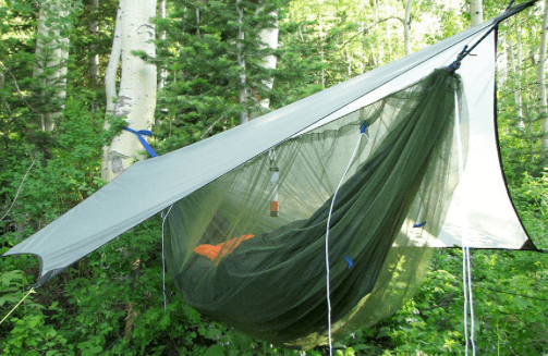 hammock camping gear list - bug net and rainfly