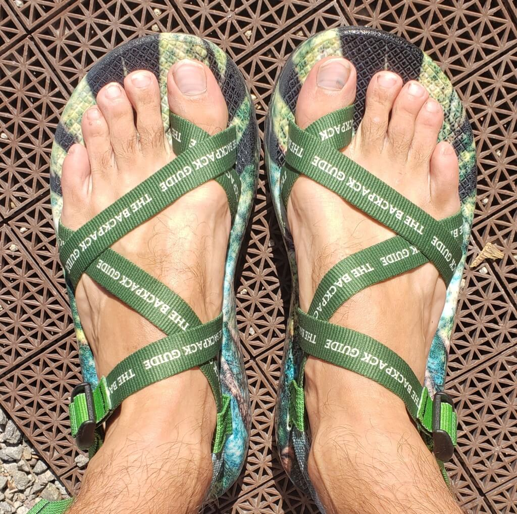 custom chacos print shop - main strap from top