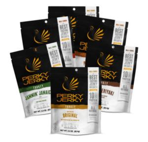 perky jerky best tasting jerky on earth - beef and turkey jerky sampler