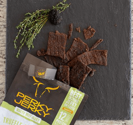perky jerky best tasting jerky on earth - truffle and thyme wagyu beef jerky