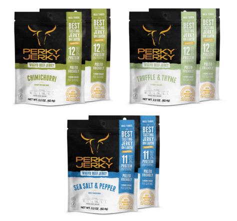 perky jerky best tasting jerky on earth - wagyu beef jerky variety pack