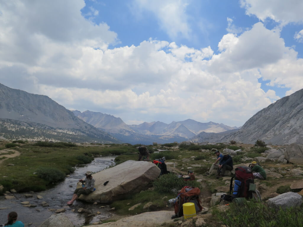 A Day on a JMT Thru Hike - much needed lunch break PC Tucker Ballister
