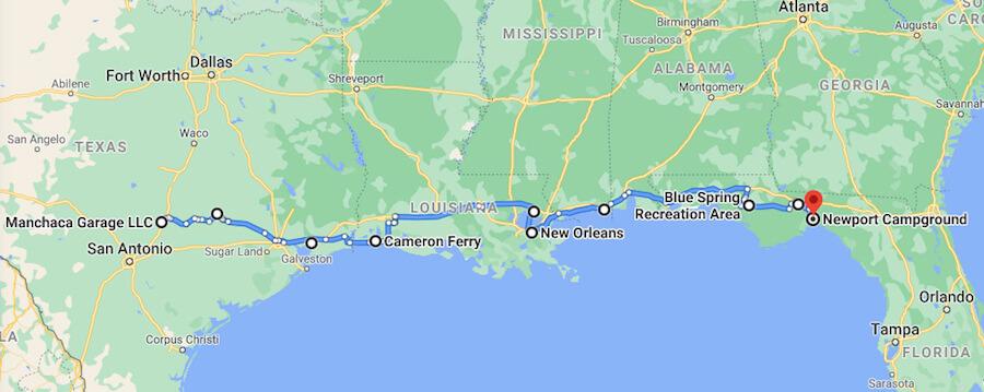 texas to florida road trip route