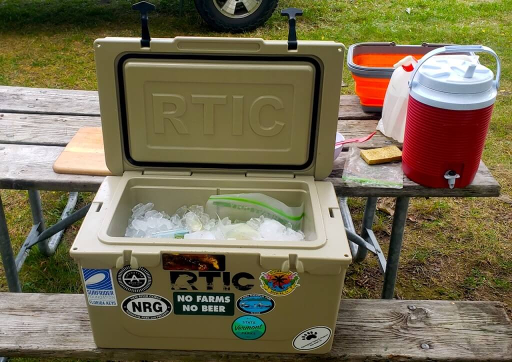 RTIC 45 quart hard cooler lid open iced down