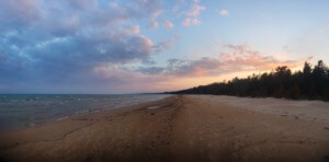 hiking upstate new york Sunset Over Lake Michigan From Big Knob Campround in the UP